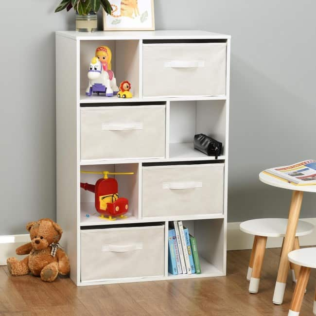 8 cube storage unit with canvas drawers