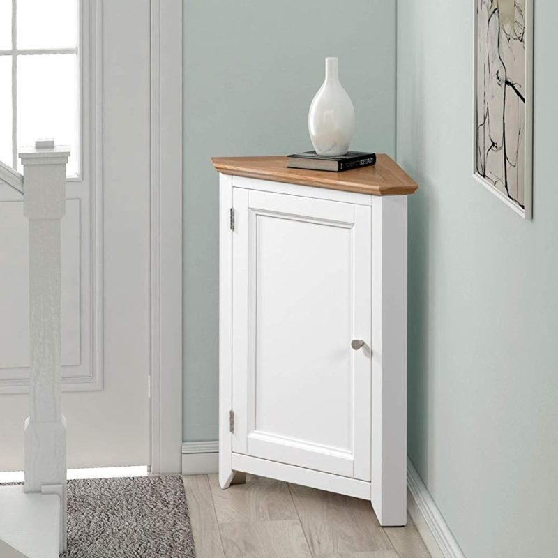 White painted corner cupboard