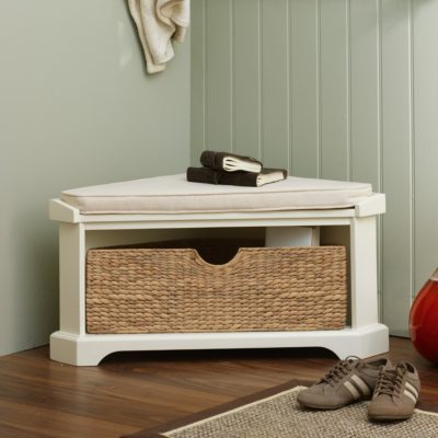 Painted corner bench with basket