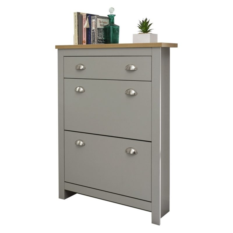 Grey 2 door shoe cabinet with drawer