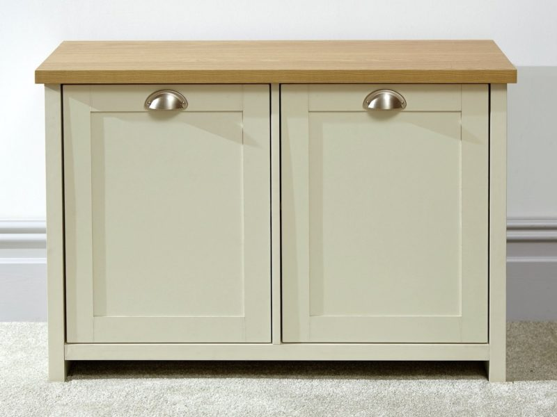 Cream 2-door shoe cupboard