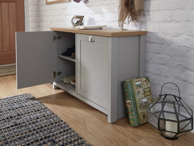 Grey 2-door shoe cupboard