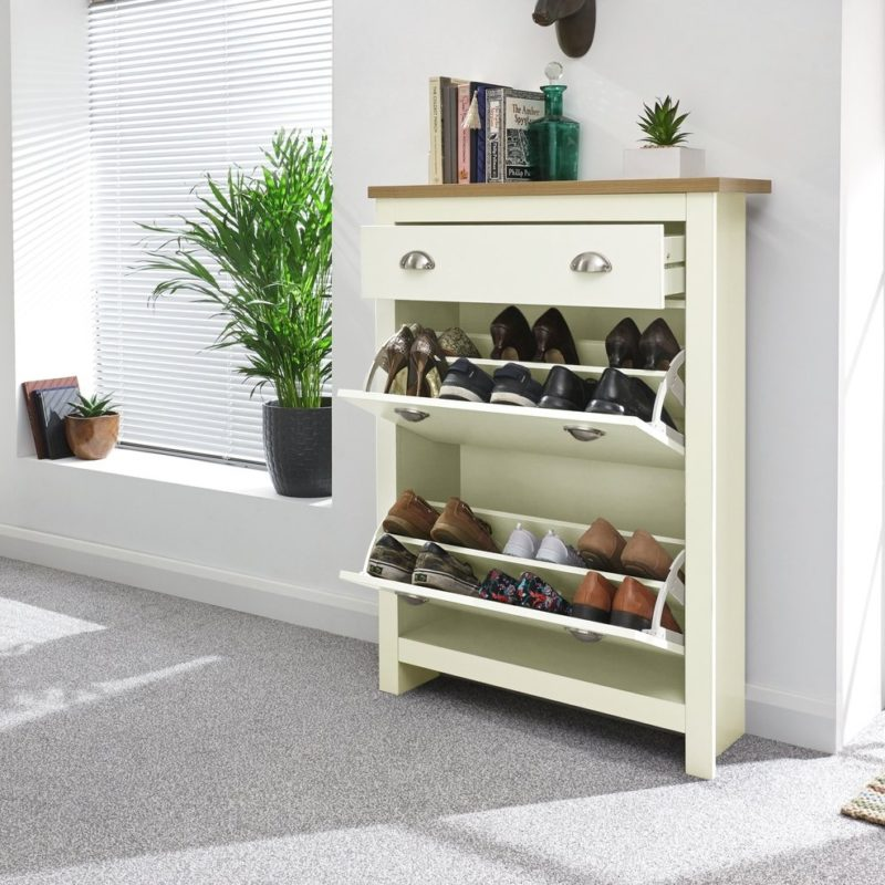 Cream painted shoe cabinet