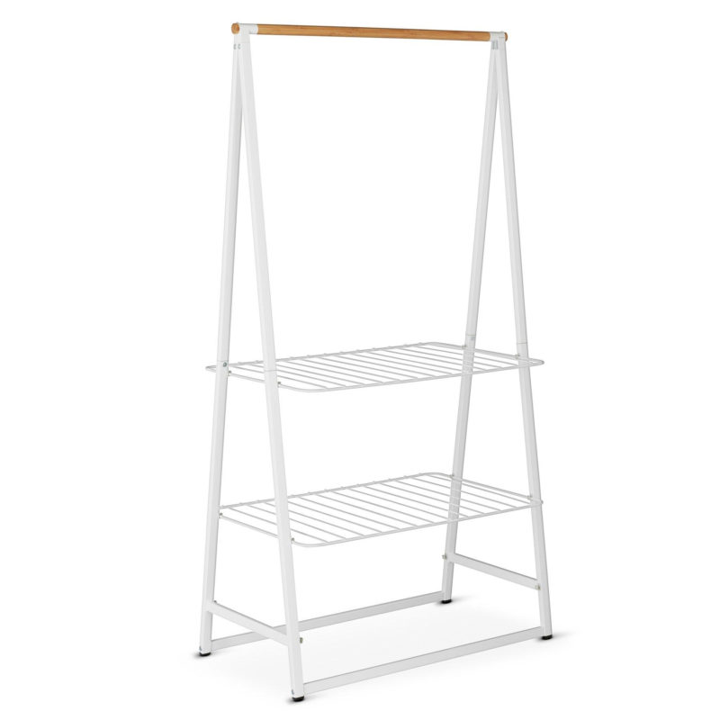A frame clothes rail with shelves