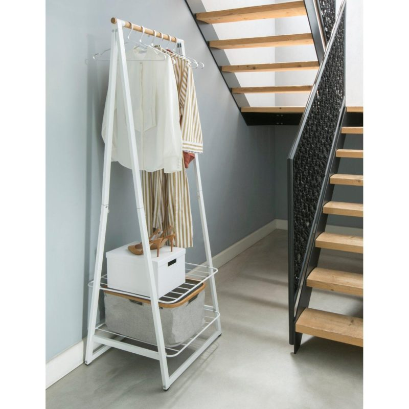 Collapsible clothes rail with shelves