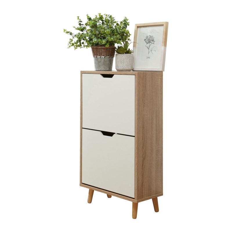 Scandi-style shoe cabinet with 2 white drawers