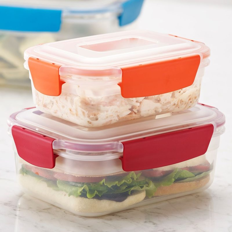 Colour coded stacking food containers