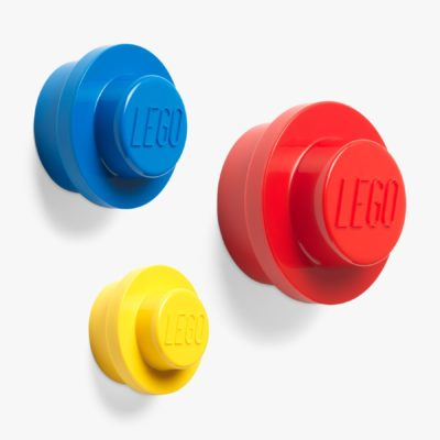 Red , blue and yellow coat hooks
