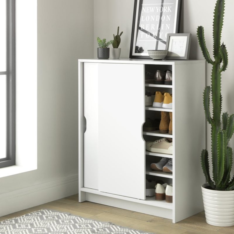 White painted shoe cabinet with sliding doors