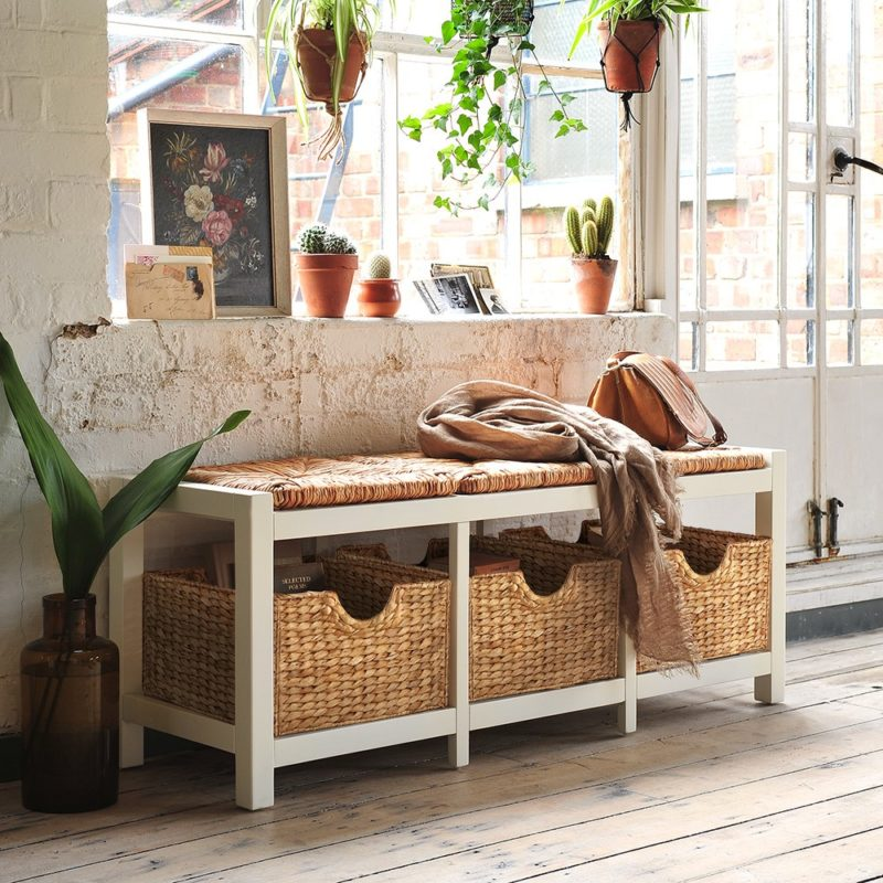 Hallway bench with wicker seat pad and 3 baskets