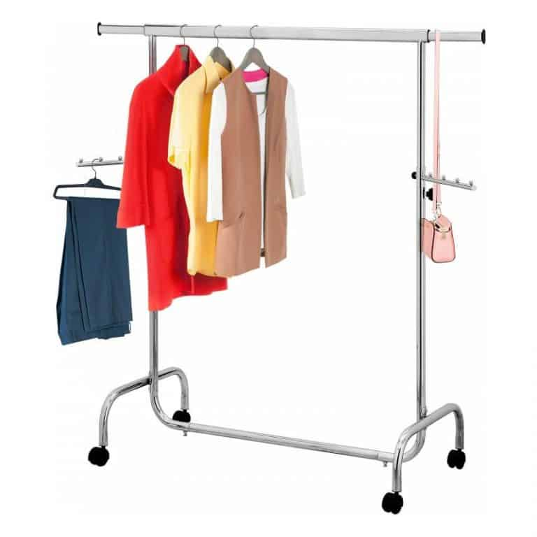 Chrome clothes rail with hanging brackets