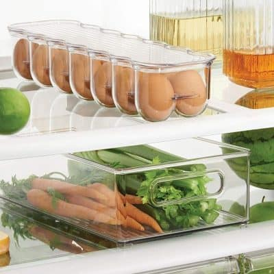 Clear plastic fridge organisers