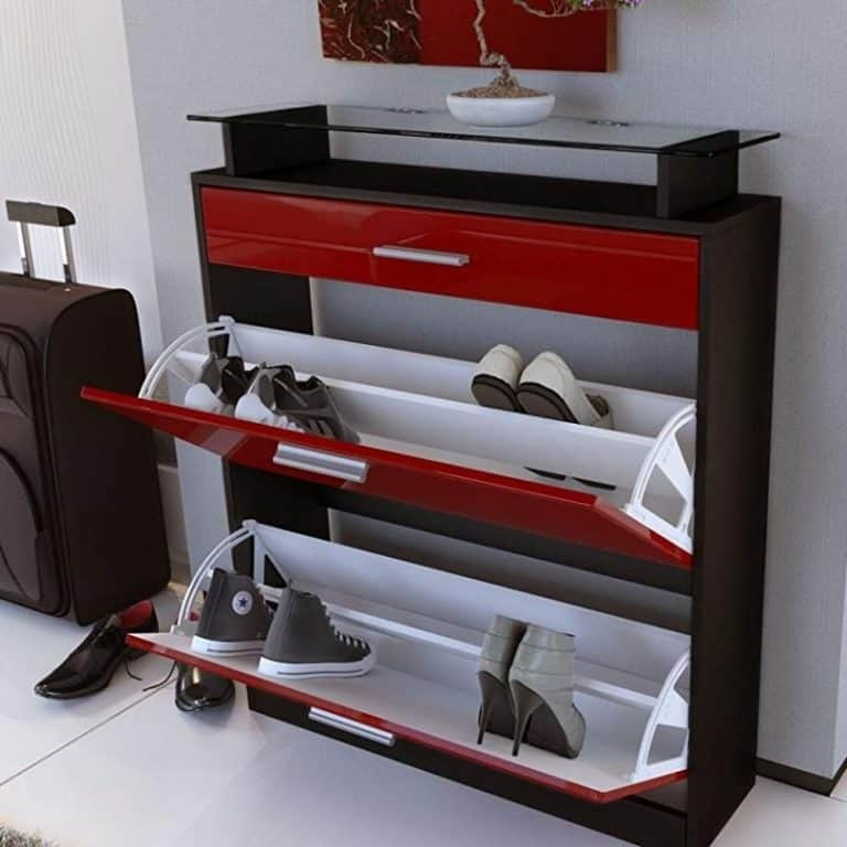 Contemporary red/black shoe cabinet