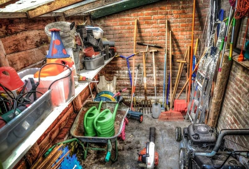 An organised storage shed