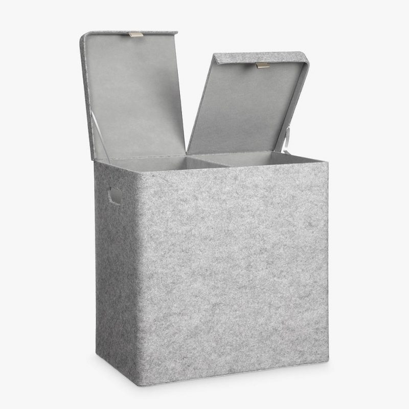 Grey felt laundy bin with twin compartments