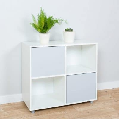 Cube storage unit with blue cupboard doors