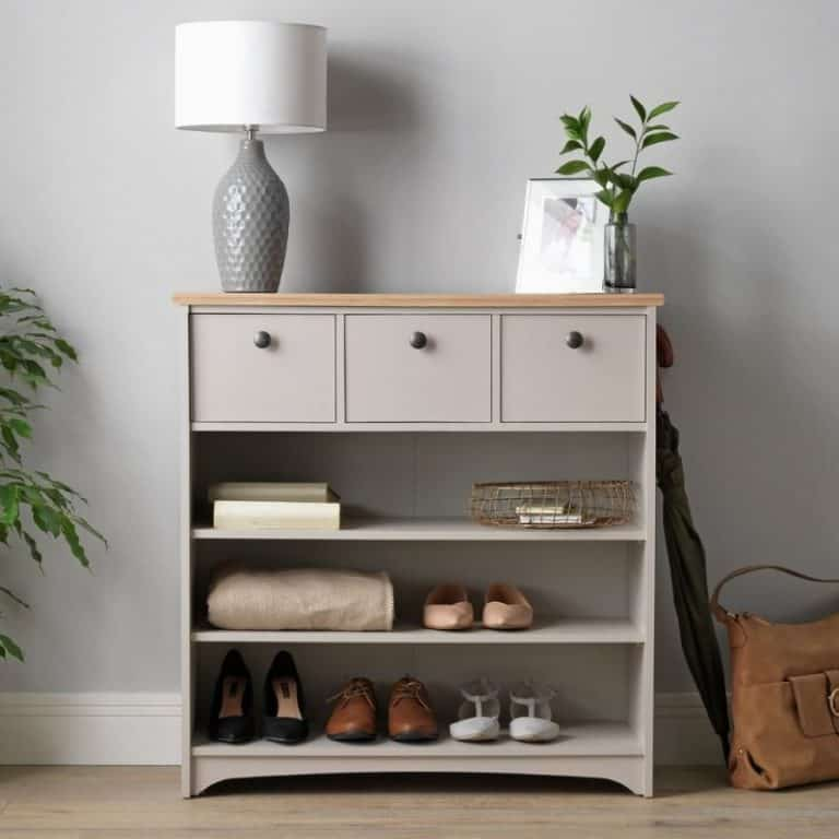 Grey-painted storage console with 3 shelves and 3 drawers