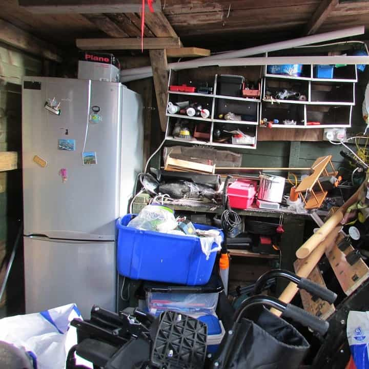 A messy cluttered garage