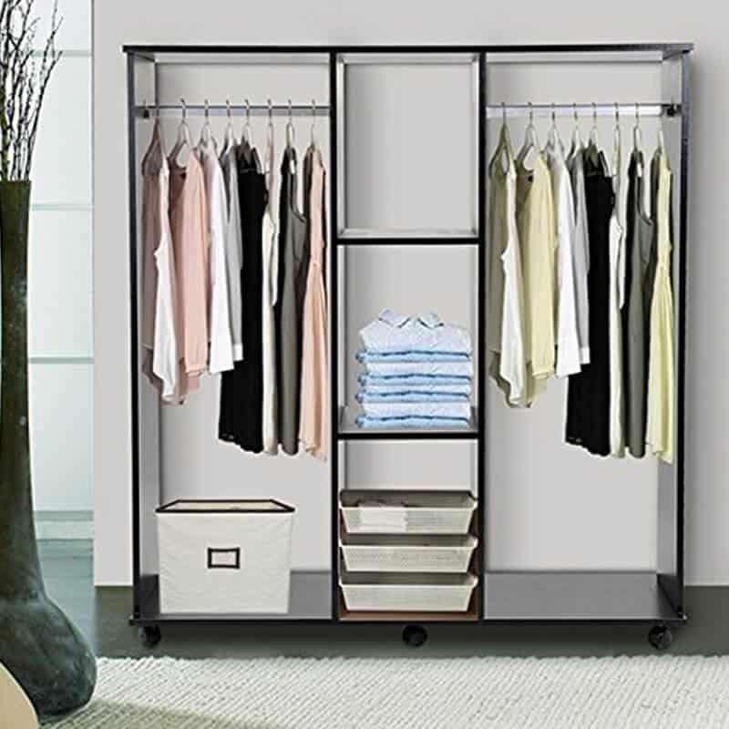 Open wardrobe with 2 hanging rails and 3 shelves