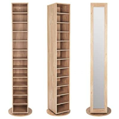 Rotating shoe cabinet with mirror