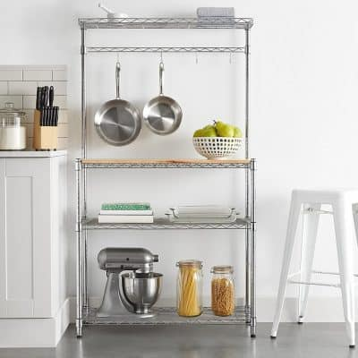 Chrome kitchen shelving and rack