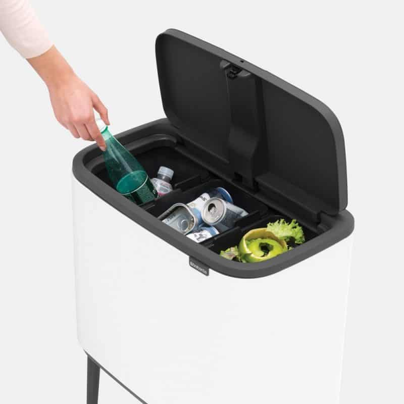 Recycling bin with soft touch opening