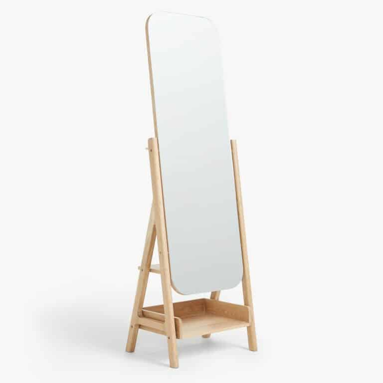 Tall free-standing mirror with oak frame