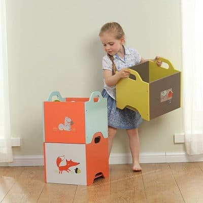 Stacking toy boxes with woodland animal prints