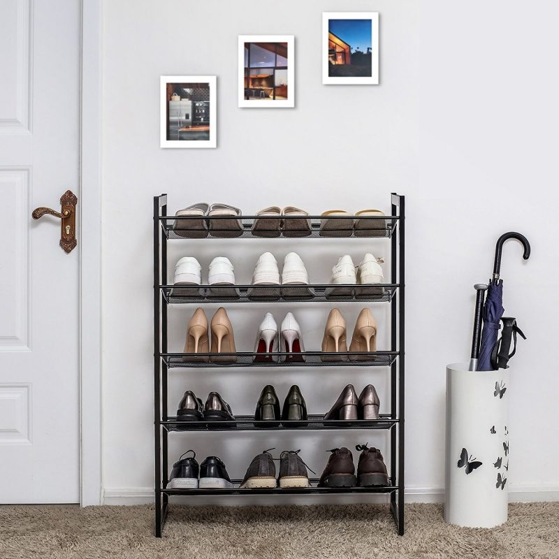 5 tier metal shoe rack with mesh shelves