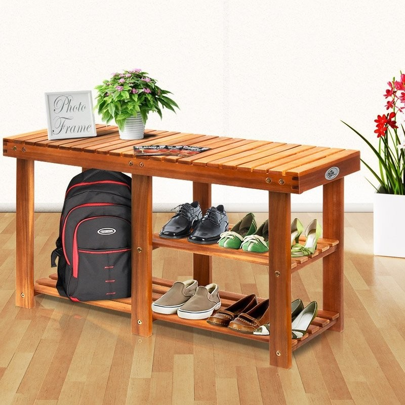 Bench style shoe rack