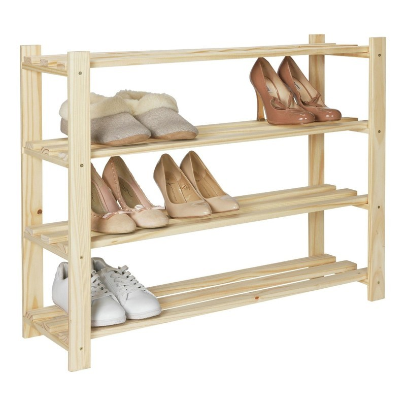 4 tier pine shoe rack