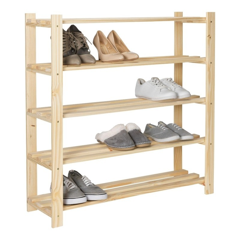 5 tier pine shoe rack