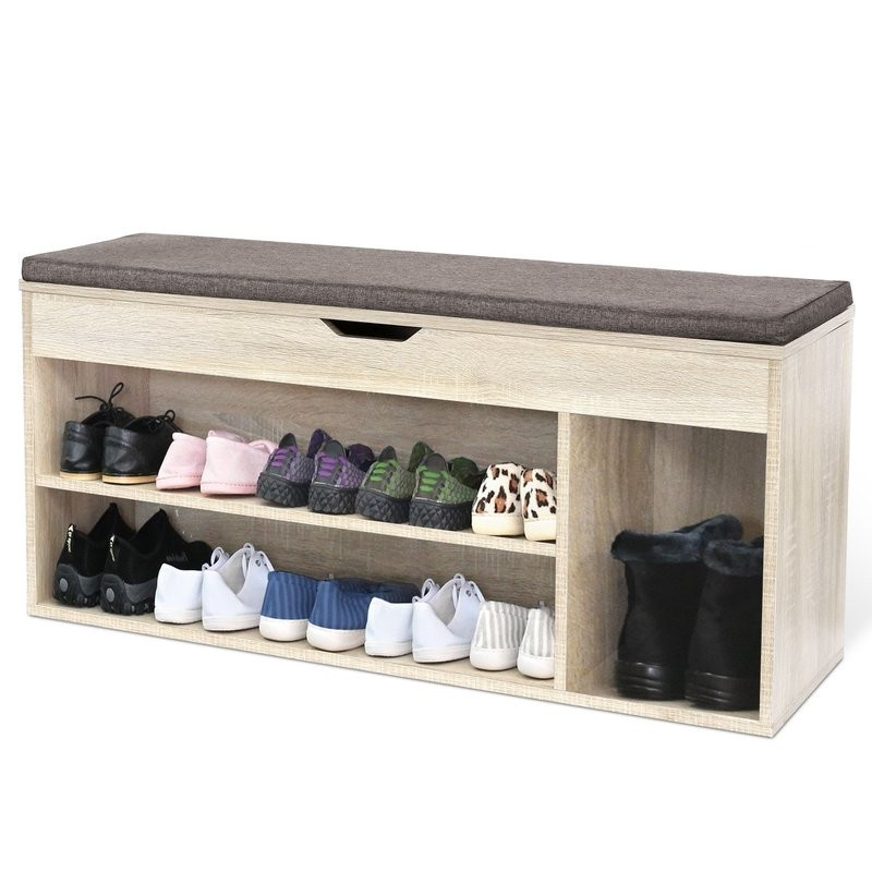 Wide shoe bench with storage section