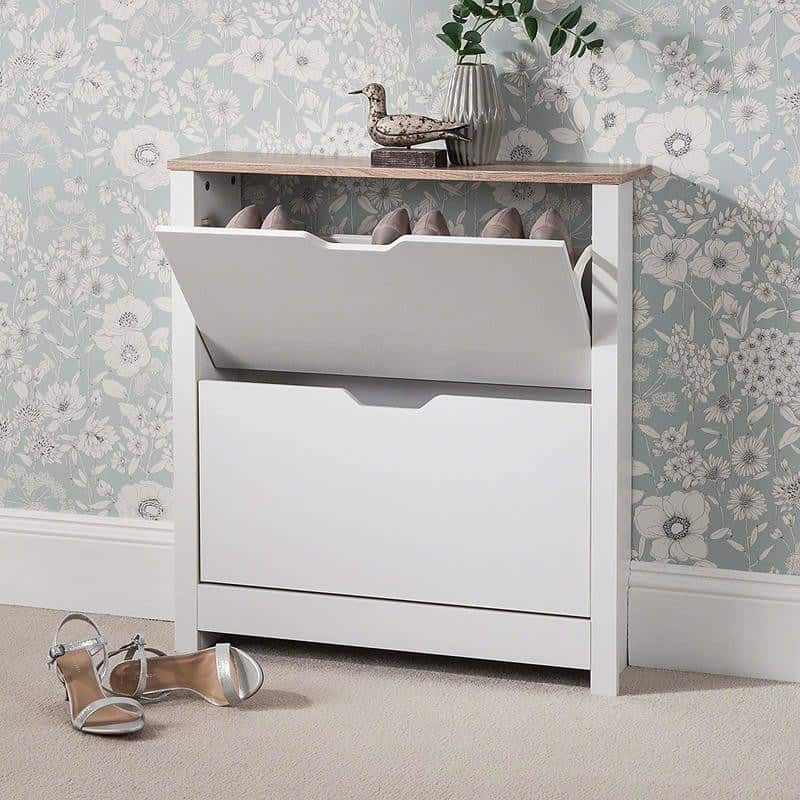Grey painted shoe cabinet