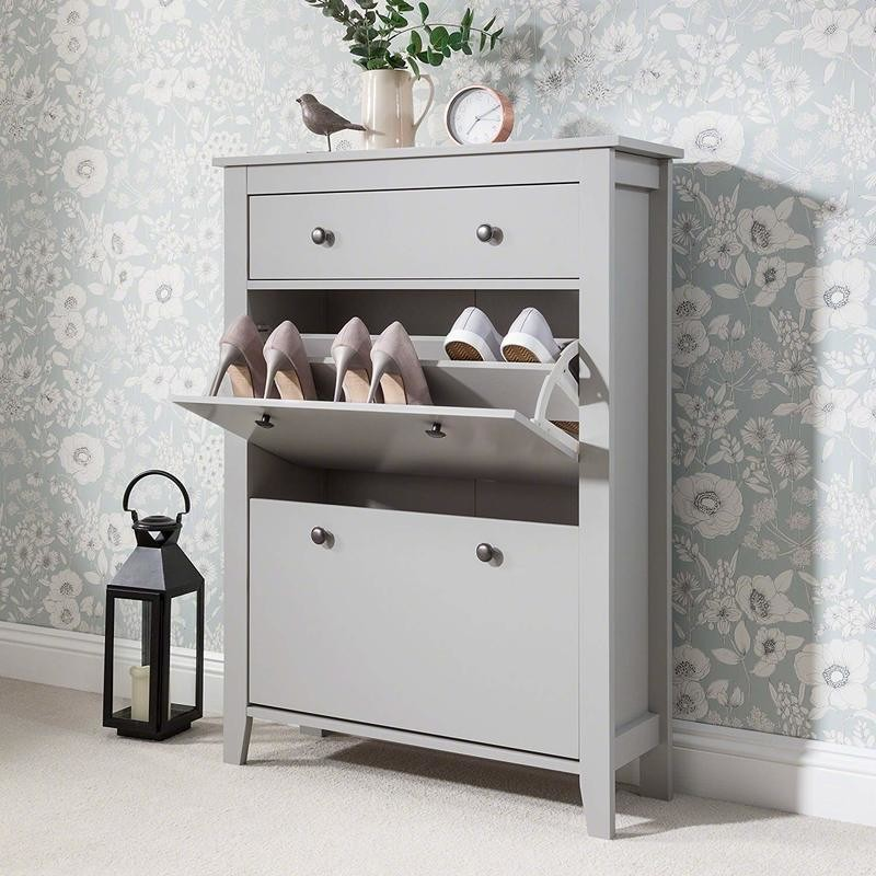 Grey 3-tier cabinet with drawer