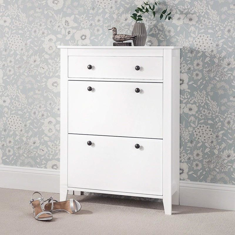 white 2-tier shoe cabinet with drawer