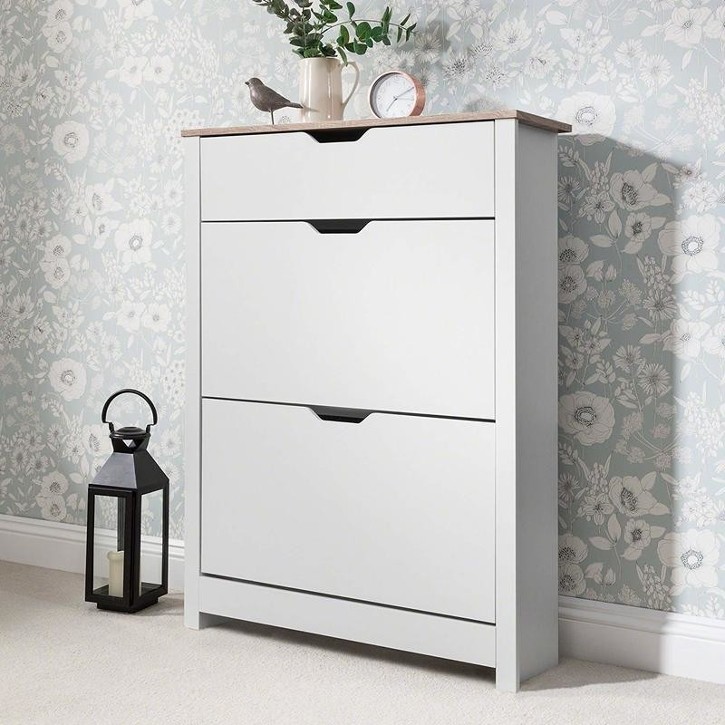 3 tier shoe cabinet with cut-out handles