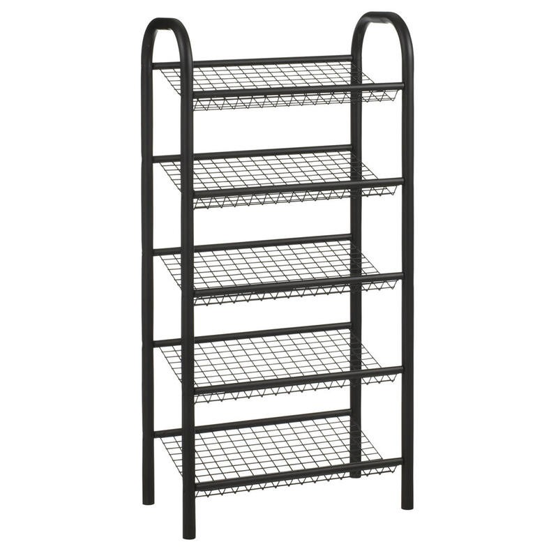 Narrow black metal shoe rack