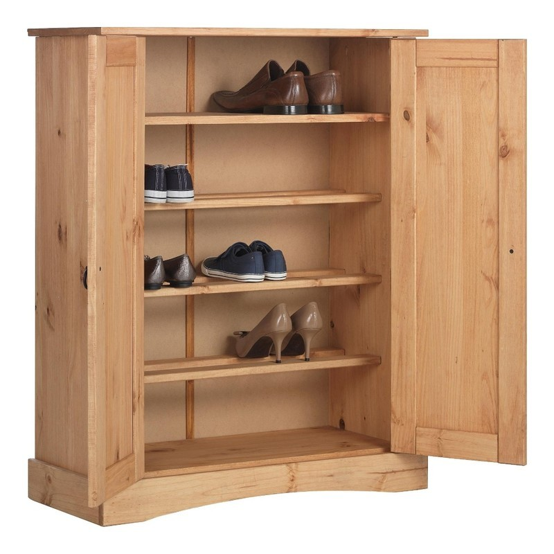 Pine shoe cupboard with 4 shelves