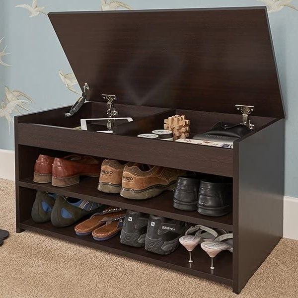 Shoe storage bench with lid