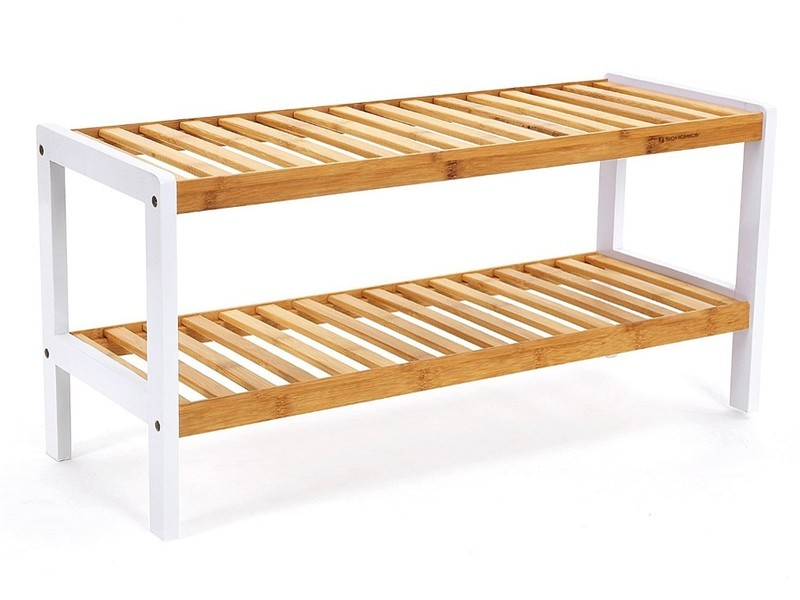 2 tier bamboo shoe rack with white frame
