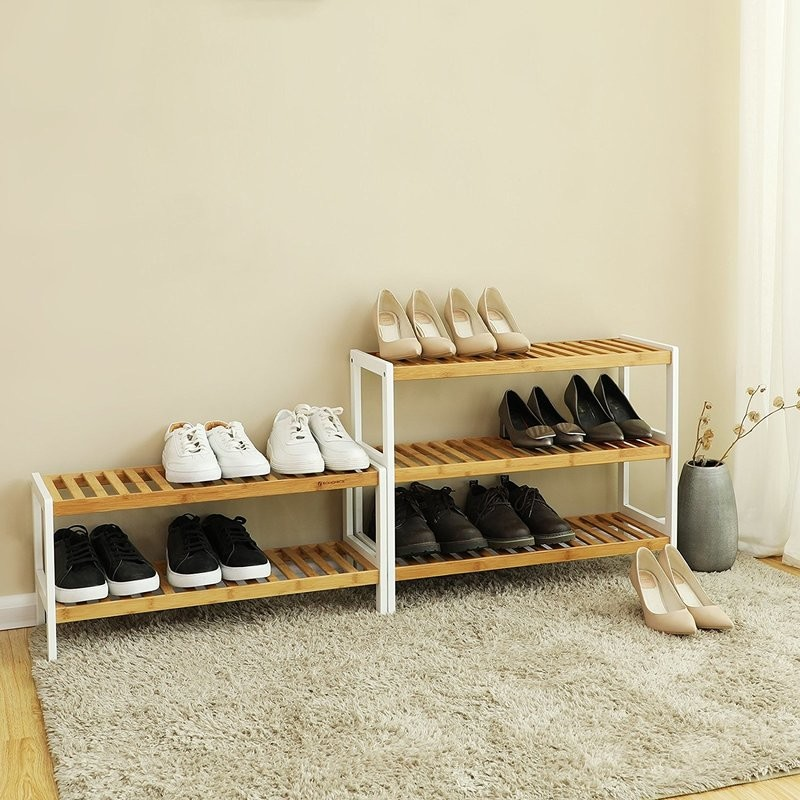 2 and 3 tier bamboo shoe racks side by side