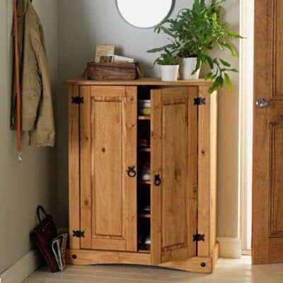 Traditional pine shoe cabinet