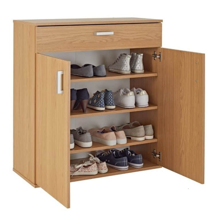 Contemporary shoe cabinet with woodgrain finish
