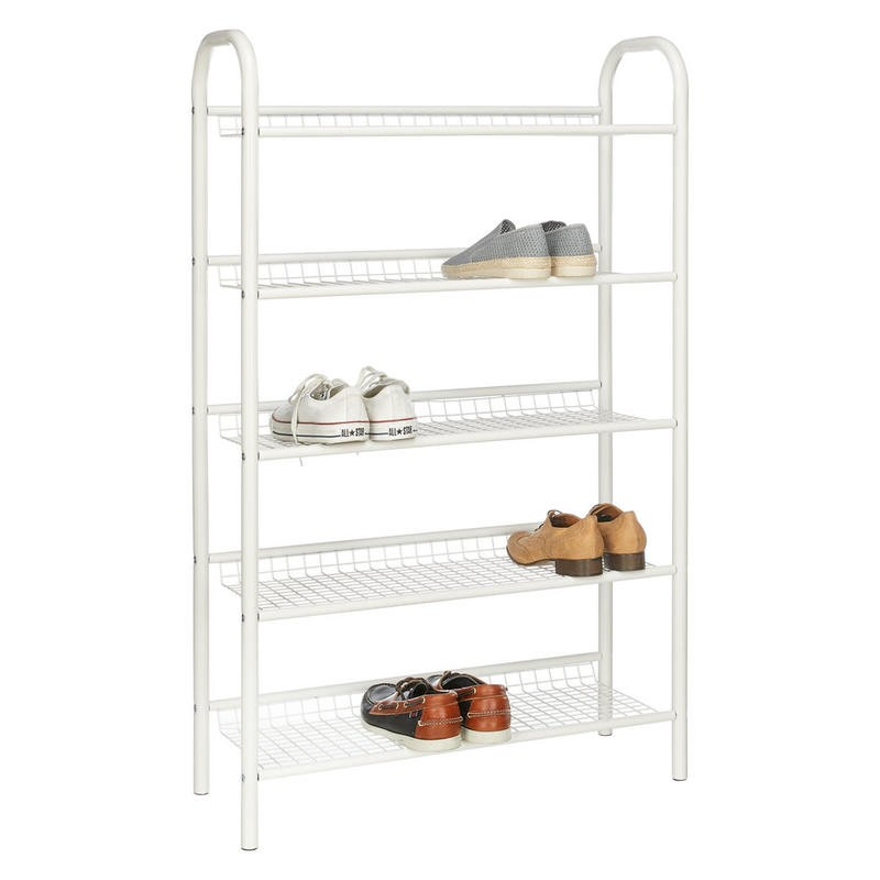 White 5 tier metal shoe rack