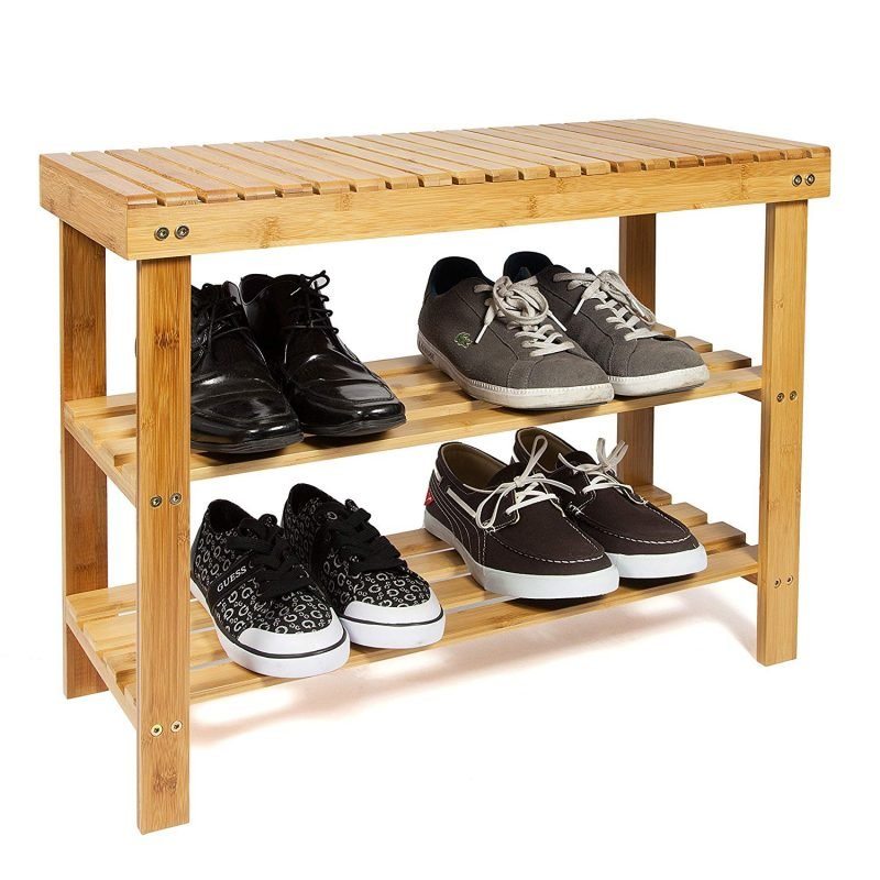 2 Tier Bamboo Shoe Bench