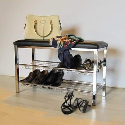 Chrome shoe rack with black cushion seat
