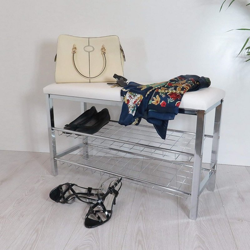 Metal shoe rack with white cushioned seat