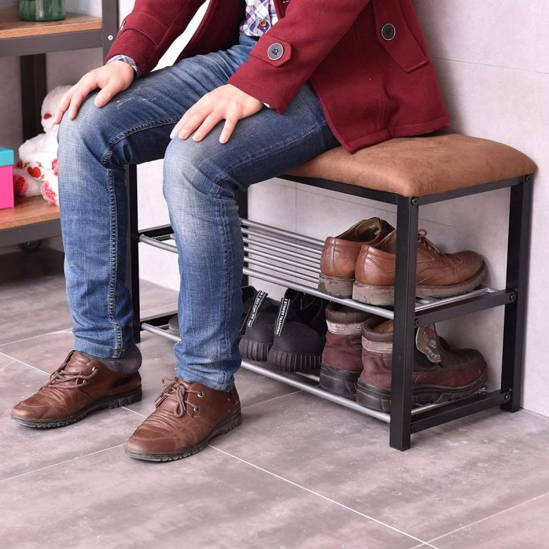 Shoe rack with brown padded seat