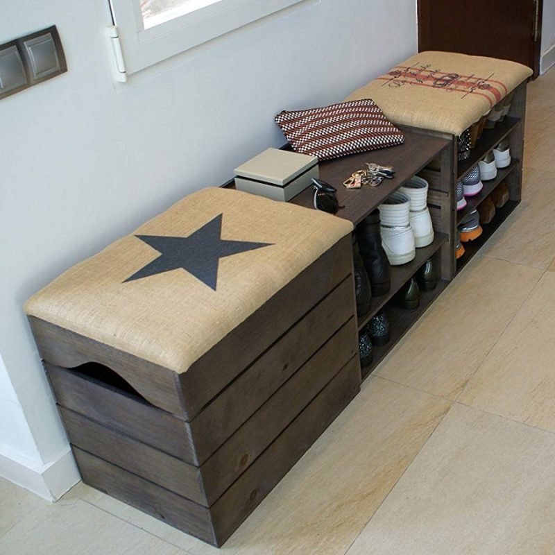 Rustic style shoe benches